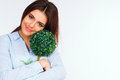 Beautiful woman hugging small green tree young Royalty Free Stock Image