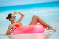 Beautiful woman with inflatable life buoy Royalty Free Stock Photo