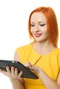 Beautiful woman with ipad Royalty Free Stock Photo