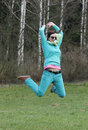 Beautiful woman in jump Royalty Free Stock Photo