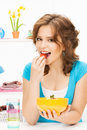 Beautiful woman in the kitchen picture of Royalty Free Stock Photography
