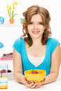 Beautiful woman in the kitchen picture of Stock Photos