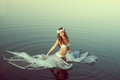 Beautiful Woman In A Lake At N...