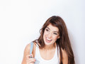 Beautiful woman laughing and smiling on white Stock Image