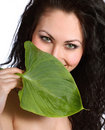 Beautiful woman with leaf Royalty Free Stock Images
