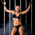 Beautiful woman in lingerie in bondage style a very and sexy Stock Photos