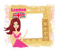 Beautiful woman in london illustration Royalty Free Stock Images