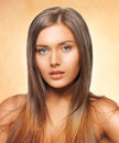 Beautiful woman with long hair bright picture of Royalty Free Stock Image
