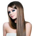 Beautiful woman with long straight hair Stock Image