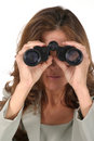 Beautiful Woman Looking Through Binoculars 3 Stock Photos