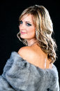 Beautiful Woman in Luxury Fur Coat. Royalty Free Stock Photos