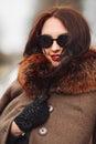Beautiful Woman in Luxury Fur Coat. Stylish brunette woman in brown coat. Royalty Free Stock Photo