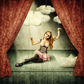 Beautiful woman marionette on stage puppet theater Royalty Free Stock Images