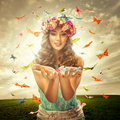 Beautiful woman on the meadow - many butterfly Surrounds Royalty Free Stock Photo