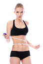 Beautiful woman measuring her waistline Stock Image