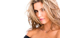 Beautiful woman messy blond hair isolated over white Royalty Free Stock Photos