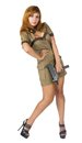 Beautiful woman in military uniform Stock Images