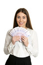 Beautiful woman with money Royalty Free Stock Photo