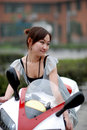 Beautiful woman on Motorcycle Royalty Free Stock Images