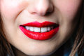 Beautiful woman mouth lips teeth sexy smile girl red makeup Royalty Free Stock Photography