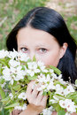 beautiful woman on nature by a canicular sunny day Royalty Free Stock Photo