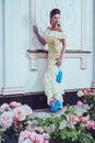 Beautiful woman near luxury building facade Royalty Free Stock Photo