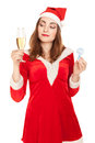 Beautiful woman in new year costume with a glass of champagne and sign question isolated on white Stock Photos