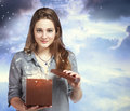 Beautiful Woman Opening a Gift Box Royalty Free Stock Photography