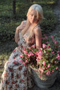 Beautiful Woman Outdoor With Flowers Royalty Free Stock Photos
