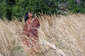Beautiful Woman Outdoors in Tall Grass (6) Royalty Free Stock Image