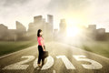 Beautiful woman on the path to future Royalty Free Stock Photo