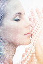 Beautiful woman with pearl beads picture of Stock Photos