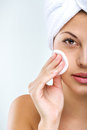 Beautiful woman with perfect skin clean face towel on her head Stock Photo