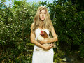 Beautiful woman with a pet - Chicken Stock Photos