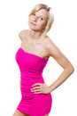 Beautiful woman in pink dress blond Royalty Free Stock Image