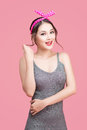 Beautiful woman pinup style portrait. Asian woman. Royalty Free Stock Photo