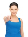 Beautiful woman pointing her finger bright picture of Stock Photos