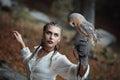 Beautiful woman portrait with barn owl Royalty Free Stock Photo
