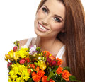 Beautiful woman portrait bouquet Royalty Free Stock Photos