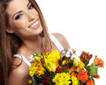 Beautiful woman portrait bouquet Stock Photo