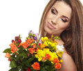 Beautiful woman portrait bouquet Stock Image