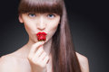Beautiful Woman Portrait. Juicy Strawberry Royalty Free Stock Photo