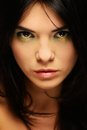 Beautiful woman portrait of a young brunette with make up Stock Photography