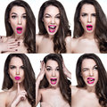 stock image of  Beautiful woman portraits with different emotions on face