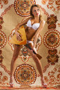Beautiful woman posing with balalaika Royalty Free Stock Image