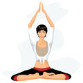 Beautiful woman practicing yoga in lotus posture Stock Photography