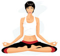 Beautiful woman practicing yoga in lotus posture Royalty Free Stock Photos