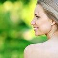 Beautiful woman profile closeup portrait Royalty Free Stock Photos