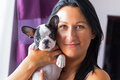 Beautiful woman with puppy french bulldog Stock Photography