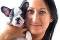 Beautiful woman with puppy french bulldog Stock Photo